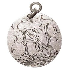 Victorian Love Token Charm Engraved Initial R