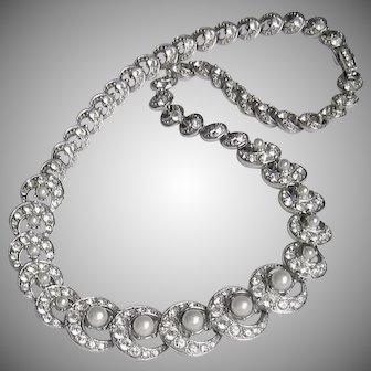 Elegant Vintage Ora Rhinestone Necklace Imitation Pearls