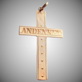 Antique Vintage Gold Filled Cross Pendant German Andenken Souvenir
