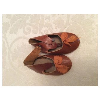 """2 3/4"""" Early Brown Leather Doll Shoes"""