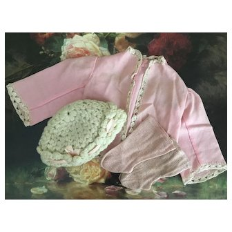 Early Pink Doll Jacket, Bonnet And Socks