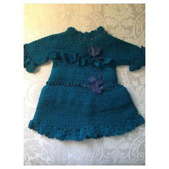 Wonderful Early Blue Crochet or Knit Doll Dress