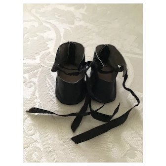 Small Vintage Black Leather Doll Shoes