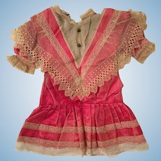 Fragile But Fabulous Early French Silk Doll Dress for Repair, Study or Display