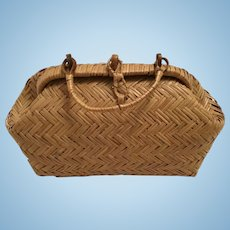 Fantastic Early Straw Type Doll Bag or Valise