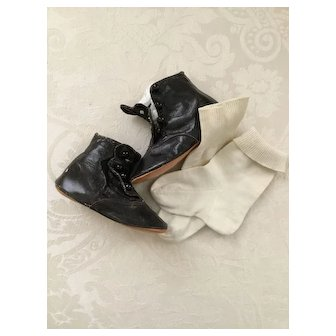 Wonderful Black Button-Up Shoes Boots Plus Socks for Large Doll