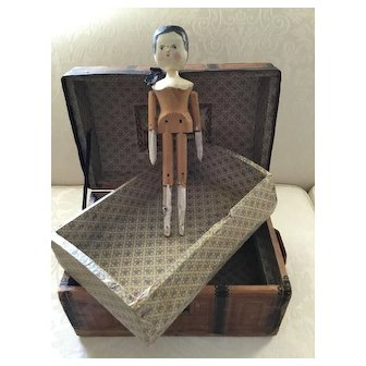 Early Wood Dome Top Doll Trunk with Tray, Litho Paper, Key, Wooden Doll