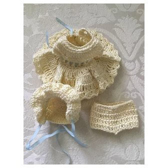 3-Piece Crochet Dress Outfit for All Bisque Doll