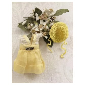 Vintage Small Yellow Organdy Doll Dress and Yellow Bonnet for All Bisque