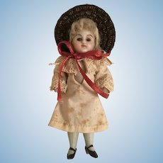 """3 1/2"""" Original All Bisque Doll With Glass Eyes"""
