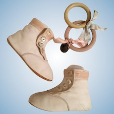 Lovely Early White Leather Shoes And Teething Rings For Large Doll