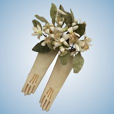 Lovely Early Kid Skin Gloves For A French Fashion Doll