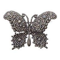 Circa 1840 Cut Steel Butterfly Pin