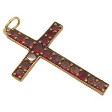 Gold Filled Garnet Cross Pendant