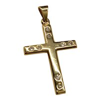 14K Yellow Gold Diamond Cross Pendant