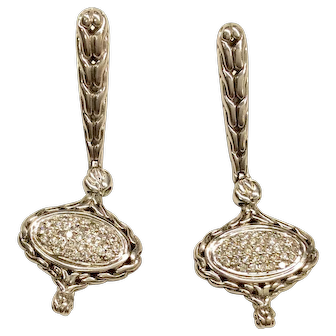 John Hardy Sterling/18K Diamond Earrings