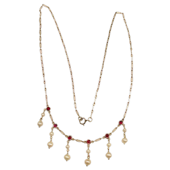 Platinum Ruby Pearl Necklace