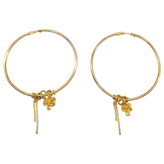 18K Diane Von Furstenburg Hoop Earrings