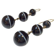 Mid Victorian 14K Agate Bead Earrings