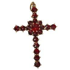 Victorian Revival Garnet Cross Pendant
