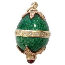 14K Green Enamel Egg Pendant