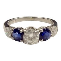 18K Diamond Sapphire Band Ring