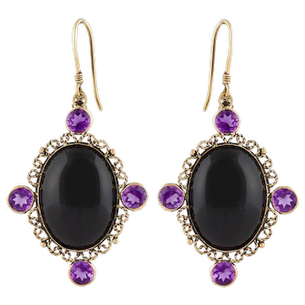 9K Onyx Amethyst Dangle Earrings