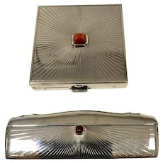 Cartier Sterling Silver Compact and Comb Set
