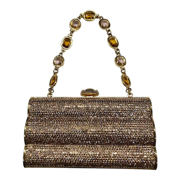 NWT Judith Leiber Ceylon Yellow Jeweled Handbag