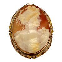 Yellow Gold Large Cameo Pin/Pendant