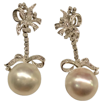 14K Mabe' Pearl Diamond Dangling Earrings