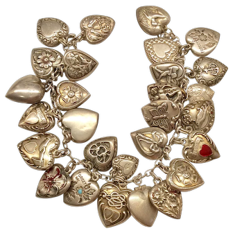 1940's Sterling Sweetheart Heart Bracelet
