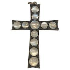 Victorian Gunmetal Moonstone Cross