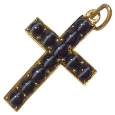 14K Banded Agate Cross Pendant