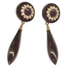 14K Victorian Onyx Earrings