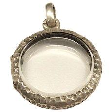 Victorian Hammered Silver Crystal Locket
