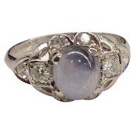 Platinum Diamond Star Sapphire Ring