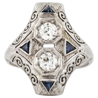 18K 1930's Diamond Sapphire Ring