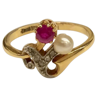 18K Edwardian Ruby Pearl Diamond Ring