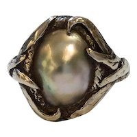 Arts & Crafts Abalone Silver Ring