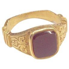 18K Victorian Carnelian Signet Ring