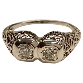1930's Filigree 18K Diamond Ring