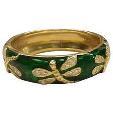 Hidalgo 18K Enamel Diamond Dragonfly Ring