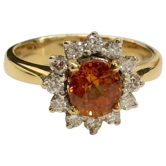 18K Orange Sapphire Diamond Ring