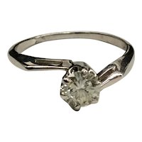 14K White Gold Solitaire Diamond Ring 1950's