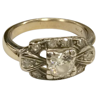 14K White Gold Diamond Ring 1930's