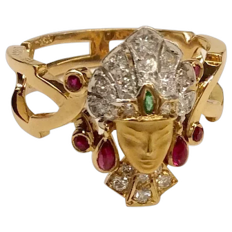 Carrera y Carrera 18K Indian Head Princess Ring