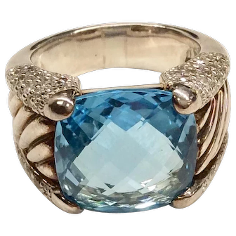 David Yurman Blue Topaz Diamond Ring