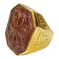 18K Carved Pink Tourmaline Ring