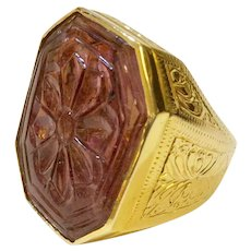 18K Carved Pink Tourmaline Ring